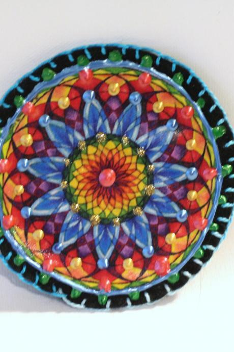 Hippie Boho Mandala Patch, Personalized Hand Embroidered, Painted Decorative Accessory for Jeans, t shirts, bags