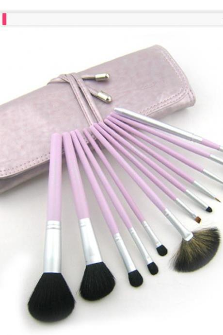 High Quality Purple 12Pcs Professional Beauty Makeup Brush Set with Bag