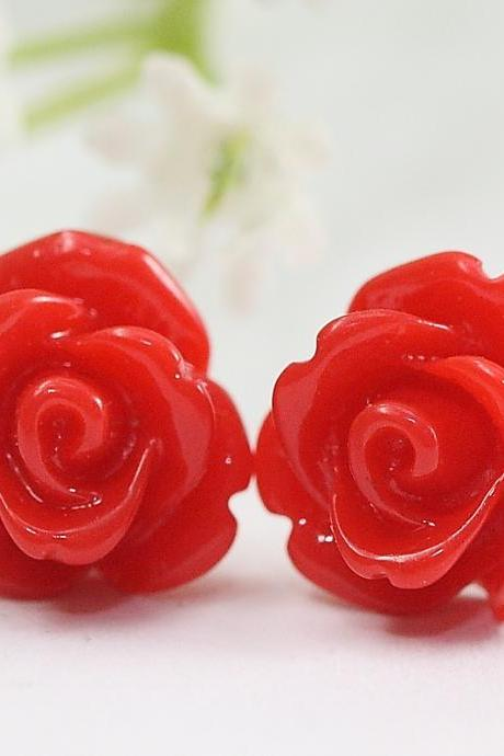 Red Rose Flower Ear Posts, Bridal Jewelry, Bridesmaids Gift, Flowergirl Gift