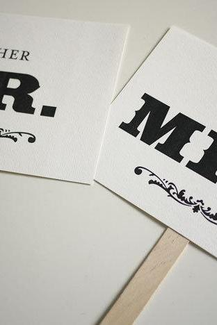 Mr and Mrs - Thank You - Double Sided Photo Props Signs (PRINTABLE)