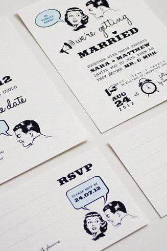 1950's Retro - Wedding Invitation Set (PRINTABLE) - Set of 4