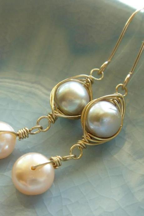 Dainty Freshwater Pearl 14k Gold Filled Earrings