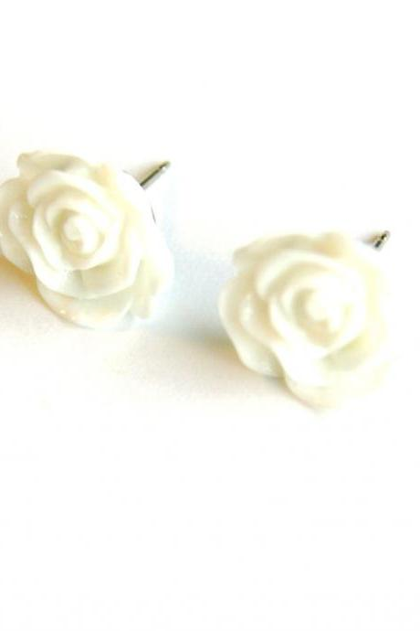 White Flower Post Earrings, Summer Flower Earrings