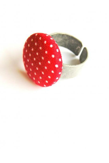 Red and White Polka Dot Ring, Adjustable