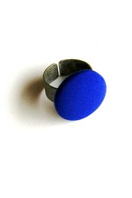 Royal Blue Fabric Button Adjustable Ring