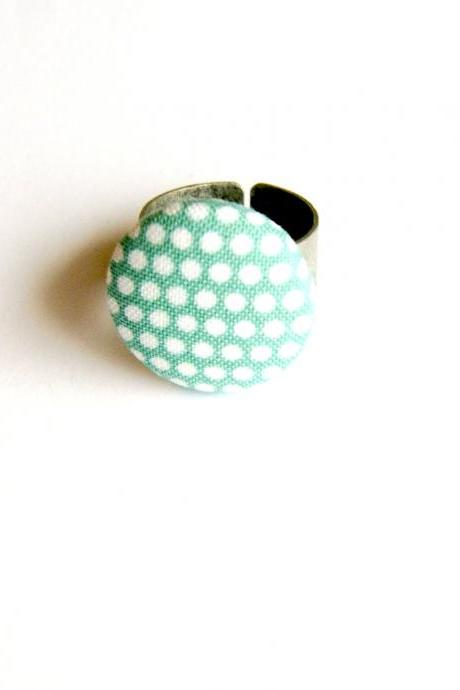 Blue and White Polka Dot Button Ring