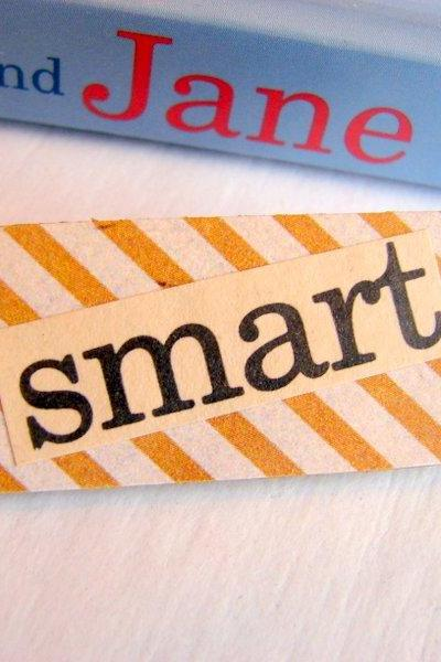 Smart - Paper And Chipboard Word Pin - Decoupage Collage Badge Brooch - Vintage Retro