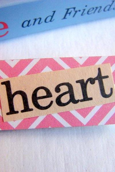 Heart - Paper And Chipboard Word Pin - Decoupage Collage Badge Brooch - Vintage Retro