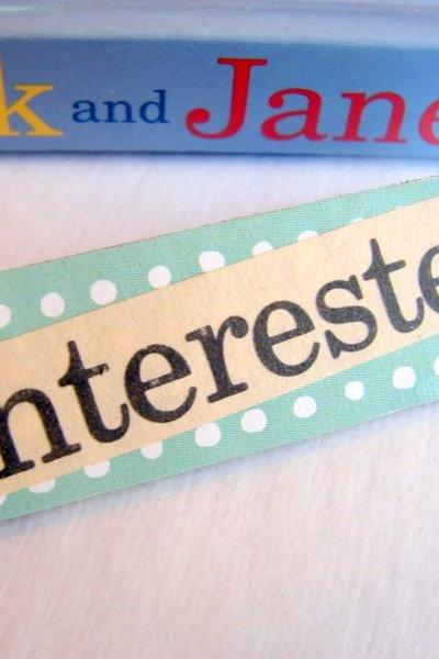 Interested - Paper And Chipboard Word Pin - Decoupage Collage Badge Brooch - Vintage Retro