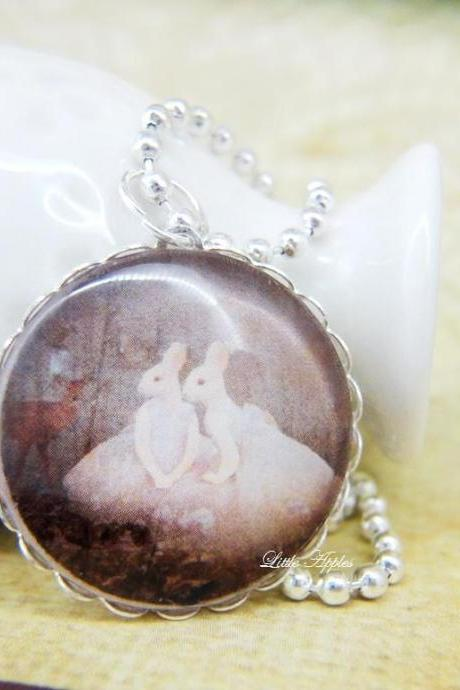 rabbit humans sisters woodland glass dome necklace or keychain