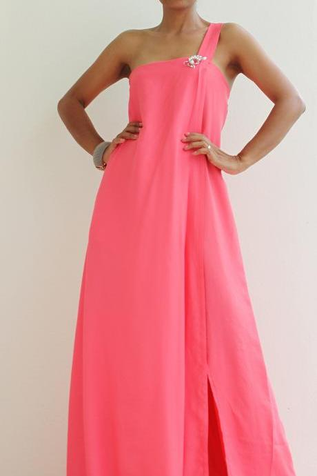 One shoulder dress with high split - Watermelon Pink Dress : Classic Collection