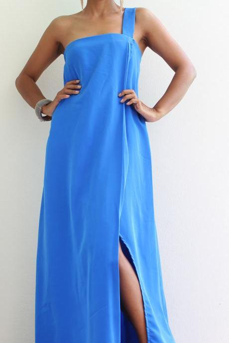 Blue One Shoulder Dress with high split - Blue Halter Dress : Classic Collection