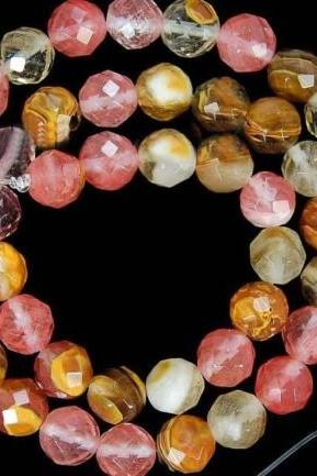 8mm Faceted Watermelon Tourmaline Gem loose Bead 15' my only strand