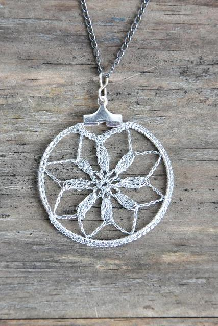 Small Delicate Crochet Lace Pendant in Silver
