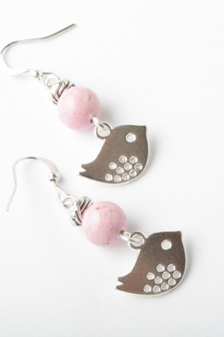 Silver bird earrings with pink fossil stone - silver hooks - bird jewelry - bird earrings - silver ear wire - silver bird