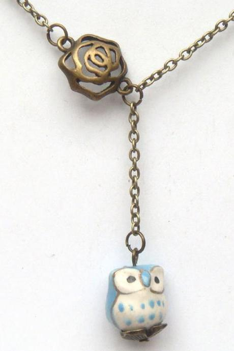 Antiqued Brass Flower Porcelain Owl Necklace