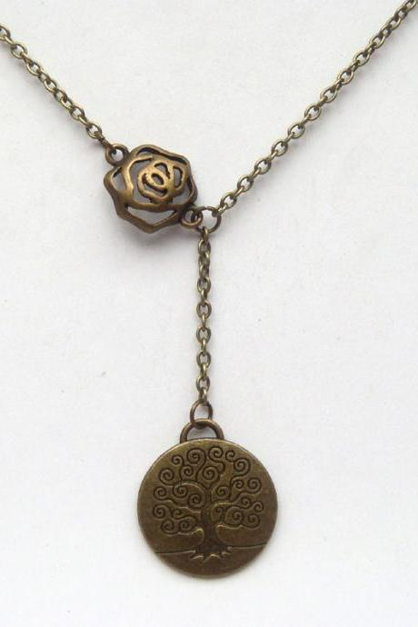 Antiqued Brass Flower Life Tree Necklace