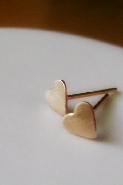 14K Gold Fill Love Hearts Stud Earrings - Tiny Size Brushed Finish