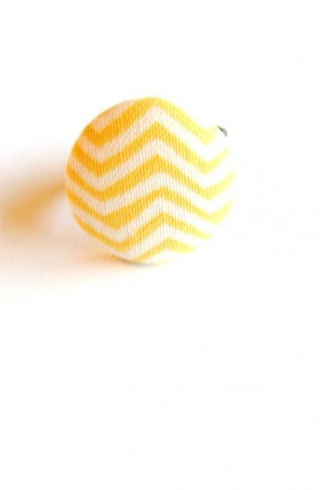 Yellow and White Chevron Fabric Button Ring