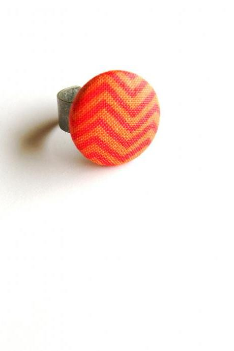 Orange ZigZag Fabric Button Ring, Adjustable