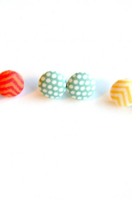 New Arrival Summer Fabric Button Covered Earring Set