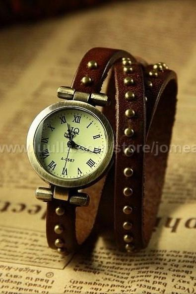 Classical Design Real Leather Chain Watch Roman Numerals Hour Mark Dark Brown