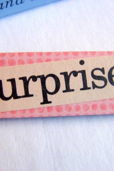 Surprise - Paper And Chipboard Word Pin - Decoupage Collage Badge Brooch - Vintage Retro
