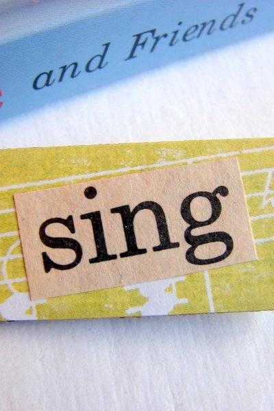 Sing - Paper And Chipboard Word Pin - Decoupage Collage Badge Brooch - Vintage Retro