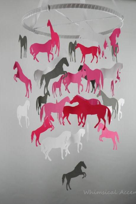 Horses Decorative Baby Nursery Mobile in Pinks and Gray