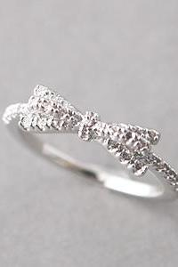 CZ White Gold Bow Ring - US 6.25