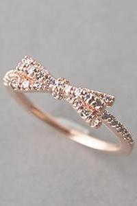 CZ Rose Gold Bow Ring - US 6.25