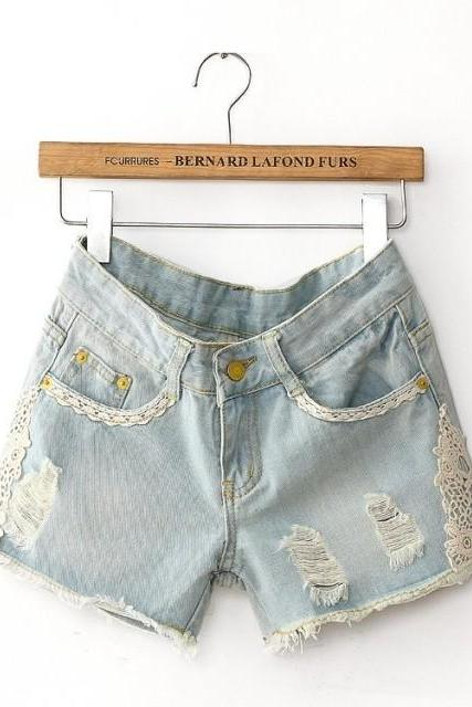 Light Ripped Denim Shorts with Lace Detail