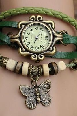 Handmade Vintage Quartz Weave Around Leather Bracelet Lady Woman Wrist Watch With Butterfly Charm Green
