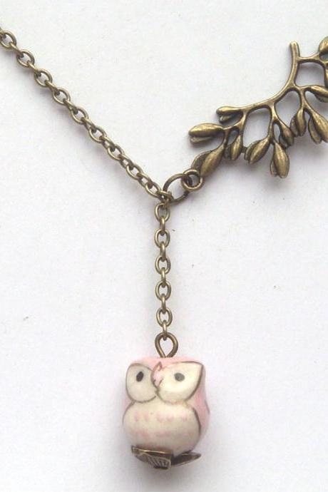 Antiqued Brass Leaf Pink Porcelain Owl Necklace