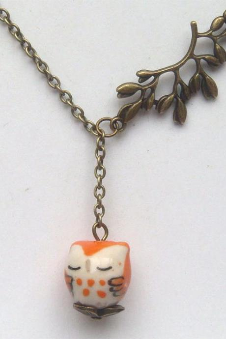 Antiqued Brass Leaf Orange Porcelain Owl Necklace