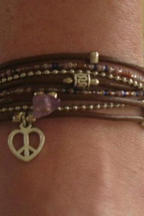 Boho Brown Leather Wrap Anklet with Purple and Silver Accents