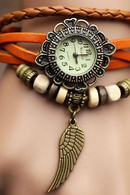 Handmade Leather Strap Watches Woman Girl Quartz Wrist Watch Bracelet Watch Light Brown