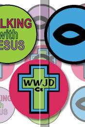 Walking With Jesus Christian Symbols 1 INCH Circle Digital Bottle Cap Image Collage Sheet For Bottle Cap Jewelry, Key Chains, Zipper Pulls, Card Making Embellishments, Scrapbook Embellishments, and Hairbows