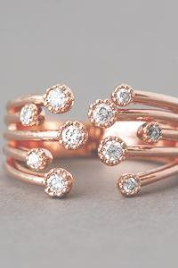 Blossom CZ Rose Gold Wrap Ring