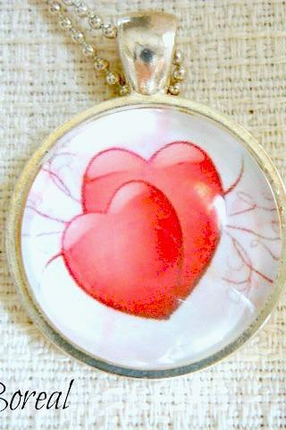 Valentine's Day glass pendant necklace