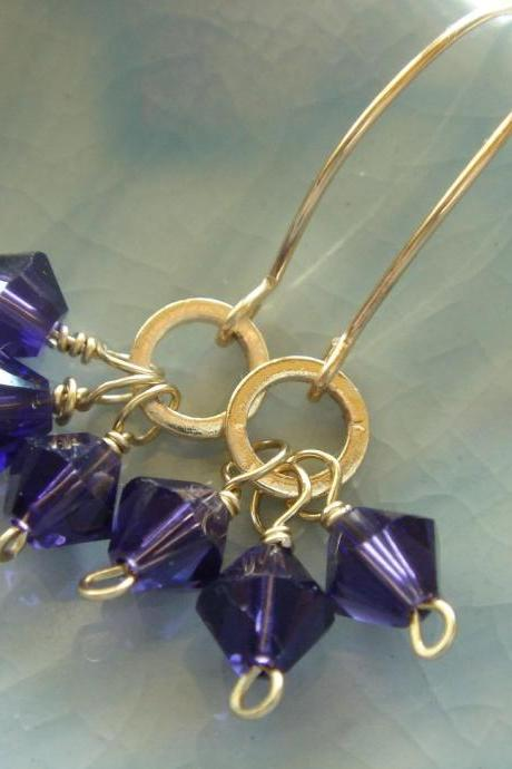 Everyday Amethyst Swarovski Crystals 14k Gold Filled Earrings