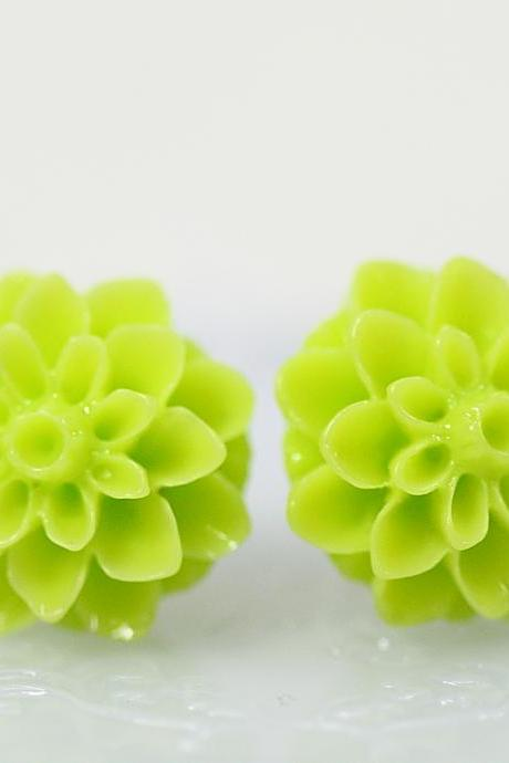 Lime Green Chrysanthemum Ear Posts, Bridal Jewelry, Bridesmaids Gift, Flowergirls Gift