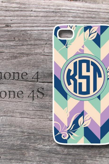 Personalized iPhone Floral Grayed jade monogrammed chevron case cover on Luulla