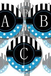 Blue Stripes and Polka Dots Alphabet 1 Initials Letters 1 INCH Circle Digital Bottle Cap Image Collage Sheet For Bottle Cap Jewelry, Key Chains, Zipper Pulls, Card Making Embellishments, Scrapbook Embellishments, and Hairbows