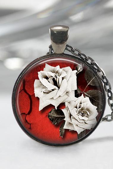 White Rose Necklace Art Pendant White Rose Jewelry 01