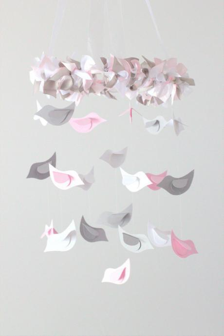 SMALL Pink & Gray Bird Mobile- Baby Nursery Mobile, Baby Shower Gift