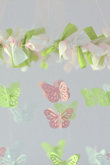 SMALL Butterfly Mobile in Pink, Green, & White