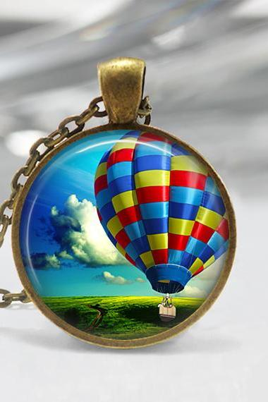 Hot Air Balloon Pendant,Glass art Pendant, Hot Air balloon Necklace 02