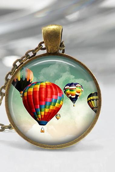 Hot Air Balloon Pendant,Glass art Pendant, Hot Air balloon Necklace 01