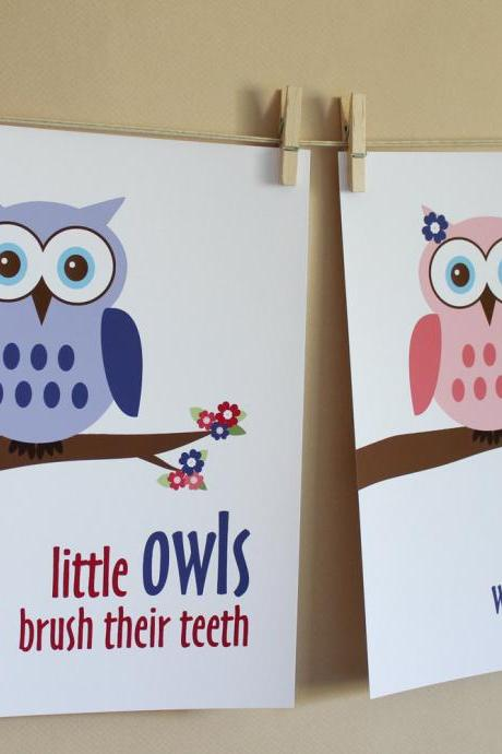 Little Owls Wash Hands and Brush Teeth, Two 8x10 Prints - GIRL